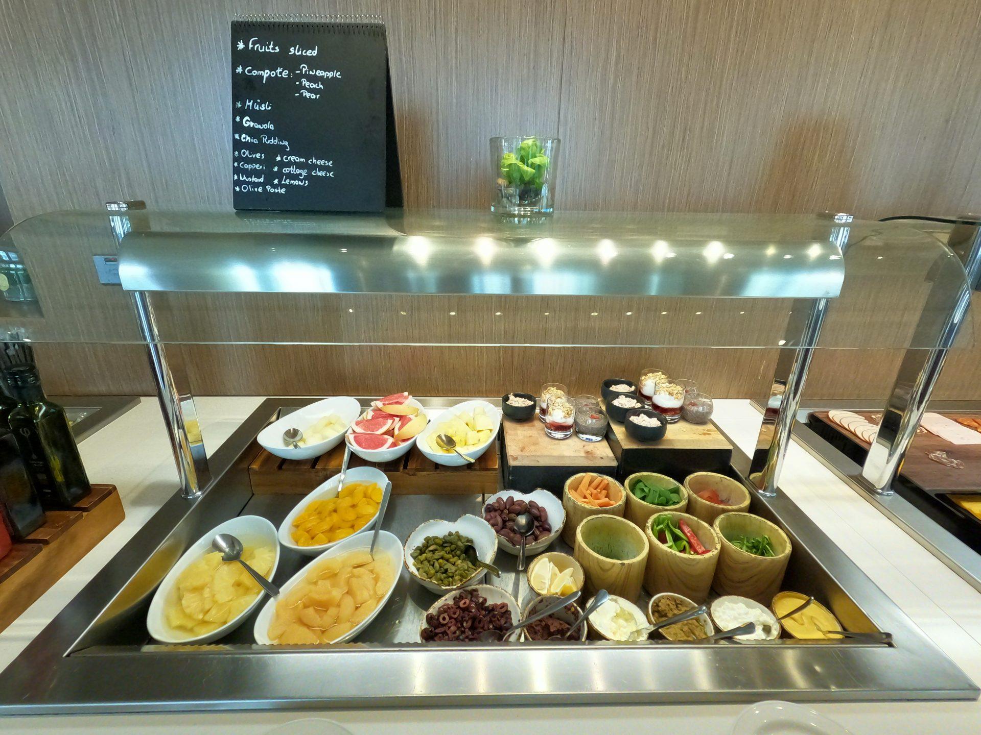 Sliced fruits, musli, granola, chia pudding and more