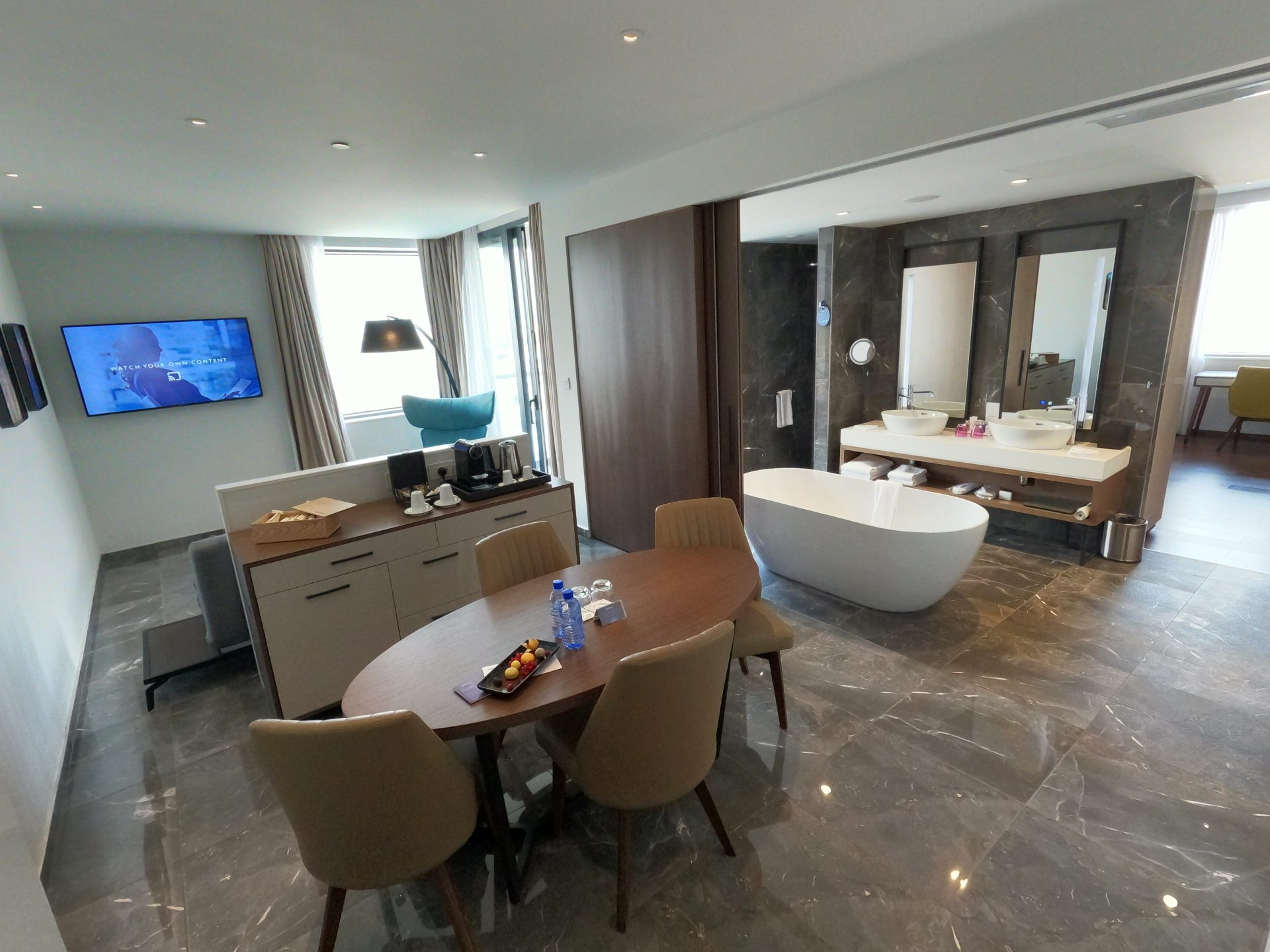 Dining room, living room and bathroom