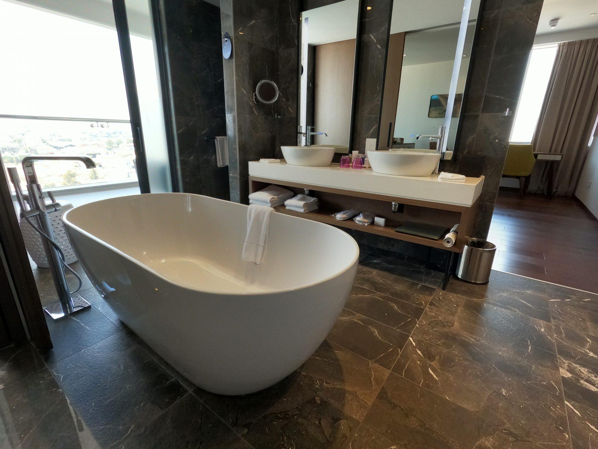 The bath in the bathroom