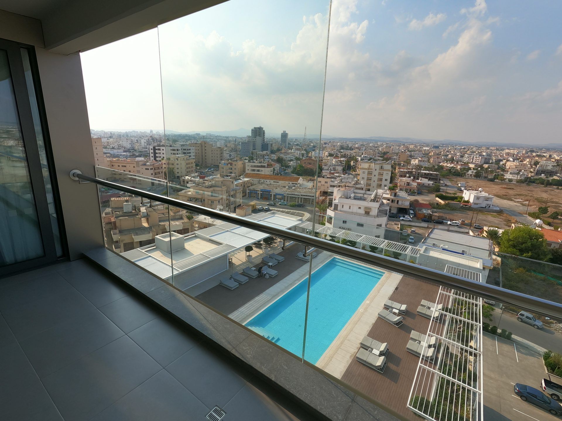 View to the pool and the city